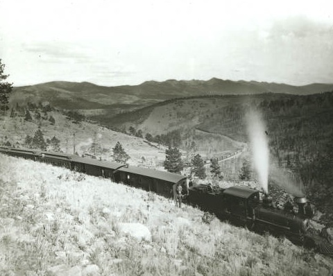 This photograph dating from 1890 shows the same or similar train in Marshall Pass